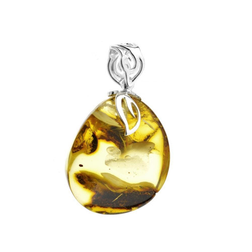 Unique Baltic Amber  Pendant in Sterling Silver PU0234