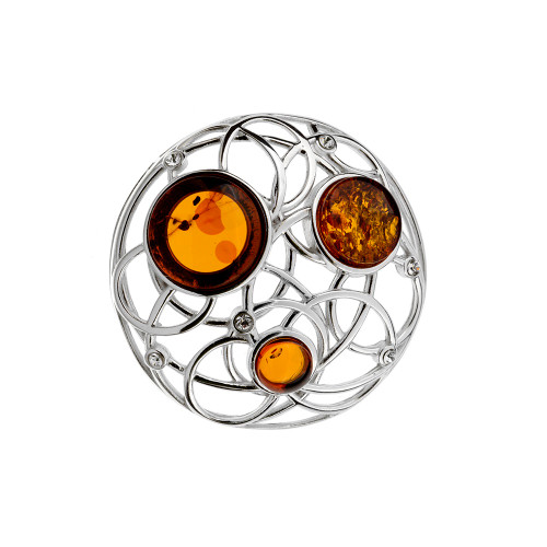 Round shape with Cognac Color Baltic Amber & Cubic Zirconia in Sterling Silver