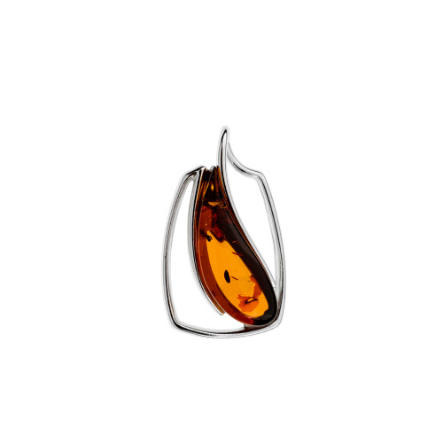 Pendant with Cognac Color Amber Stone in Sterling Silver P3369c