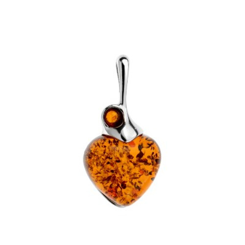 Heart Shape  Cognac Color Amber Stone Pendant  in Sterling Silver