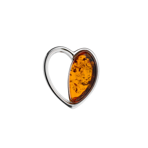 Heart Shape Pendant with Cognac Color Amber Stone in Sterling Silver