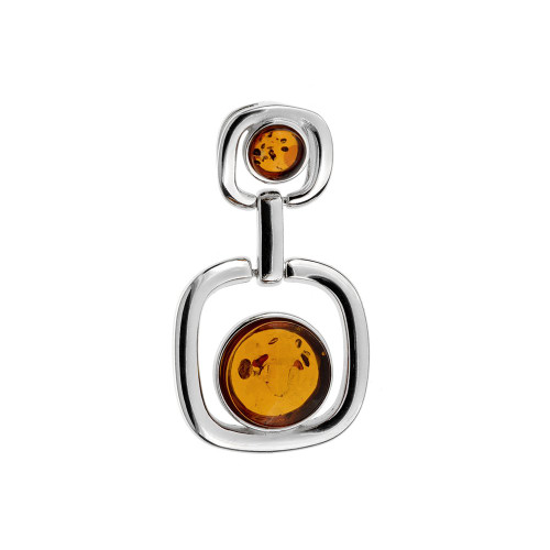 Contemporary Shape Pendant with Cognac Color Amber Stone in Sterling Silver