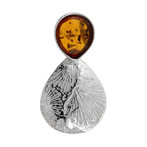 Leaf Touch Collection Teardrop Pendant with Cognac Color Baltic Amber in Sterling Silver
