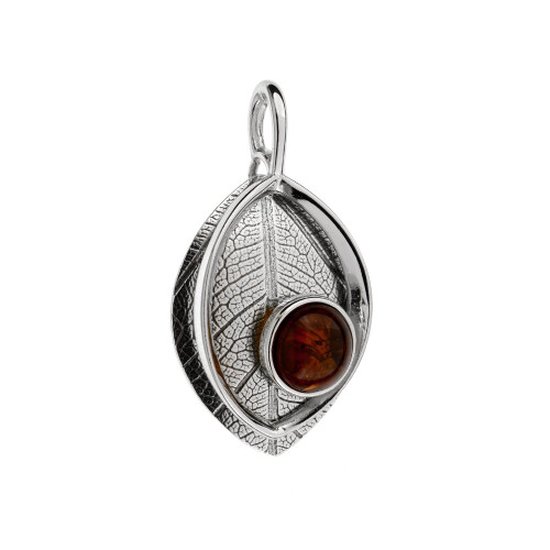 Leaf Touch Collection Pendant with Cognac Color Baltic Amber in Sterling Silver