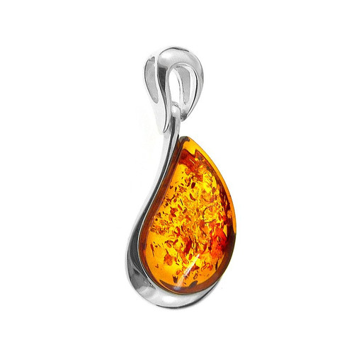 Pendant with Cognac Color Baltic Amber in Sterling Silver P1166c