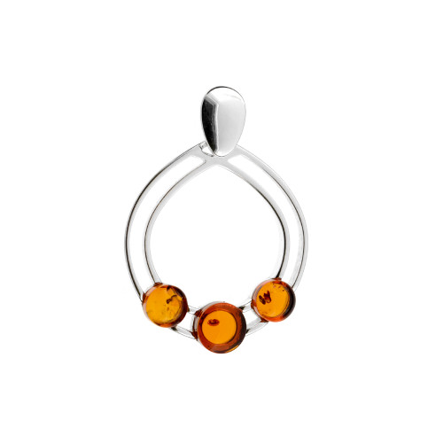 Pendant with Cognac Color Baltic Amber in Sterling Silver P2990c
