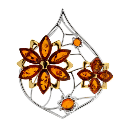 Cognac Color Baltic Amber Pendant in mix Sterling Silver & Yellow Gold plated Sterling Silver