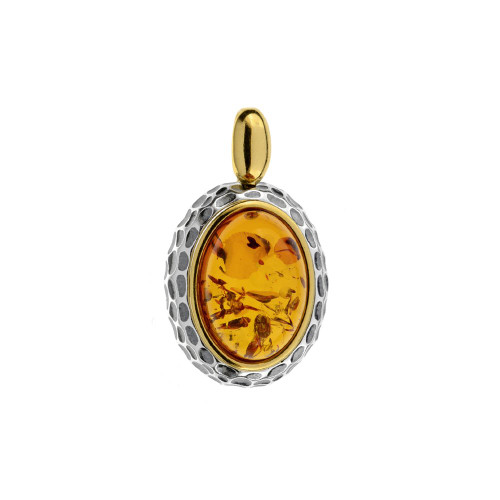 Cognac Color Baltic Amber Pendant in mix Sterling Silver & Yellow Gold plated Sterling Silver P3157YGc