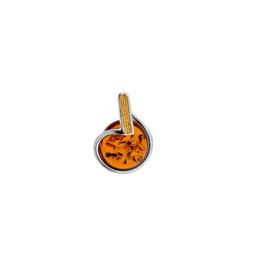 Cognac Color Baltic Amber Pendant in mix Sterling Silver & Yellow Gold plated Sterling Silver P3523YGc