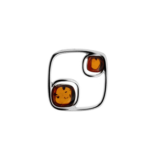 Modern design Cognac Color Baltic Amber Stones Pendant in Sterling Silver