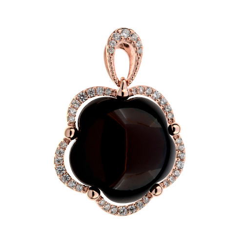 Pendant with Cherry Color Baltic Amber and white CZ in Rose Goldplated Sterling Silver