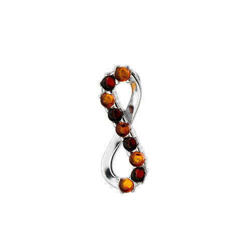 Multi Color Baltic Amber Pendant in Sterling Silver P2989mt