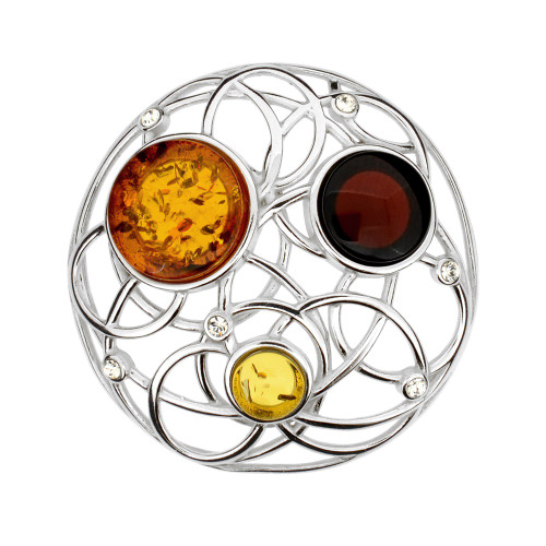Round shape with Multi Color Baltic Amber & Cubic Zirconia in Sterling Silver
