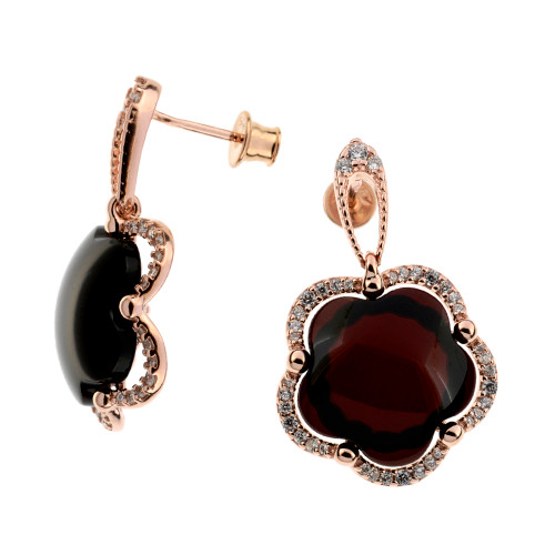 Earrings with Cherry Color Baltic Amber & white CZ in Rose Goldplated Sterling Silver