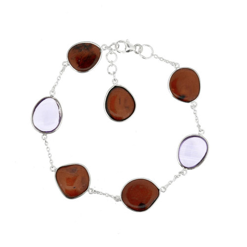 Cherry Color Baltic Amber & Amethyst Bracelet in Sterling Silver