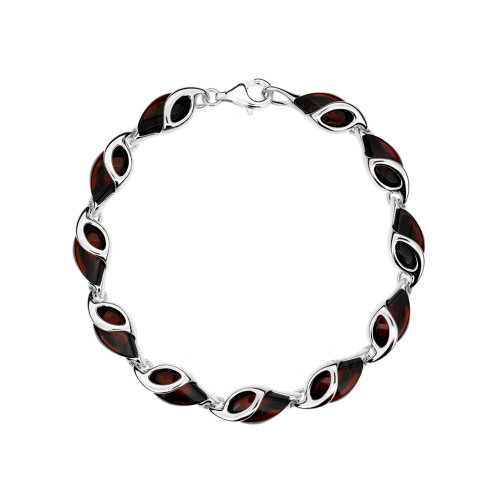 Bracelet in Sterling Silver with Cherry Color Baltic Amber W2060ch