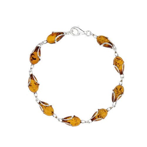 Bracelet in Sterling Silver with Cognac Color Baltic Amber W2993c