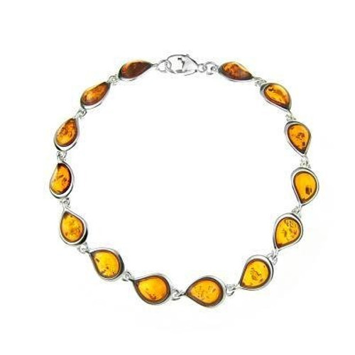 Bracelet in Sterling Silver with Cognac Color Baltic Amber W1704c