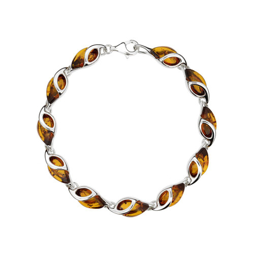 Bracelet in Sterling Silver with Cognac Color Baltic Amber W2060c
