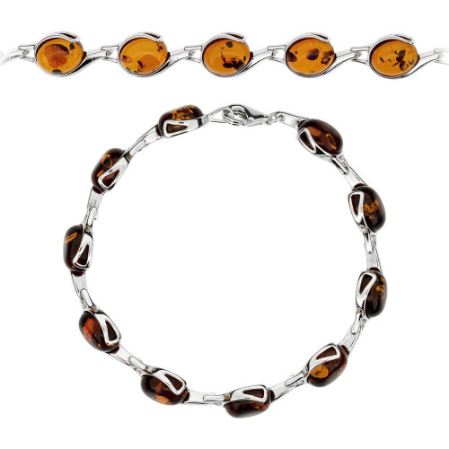 Bracelet in Sterling Silver with Cognac Color Baltic Amber W0599c