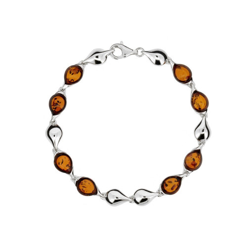 Bracelet in Sterling Silver with Cognac Color Baltic Amber W3311c