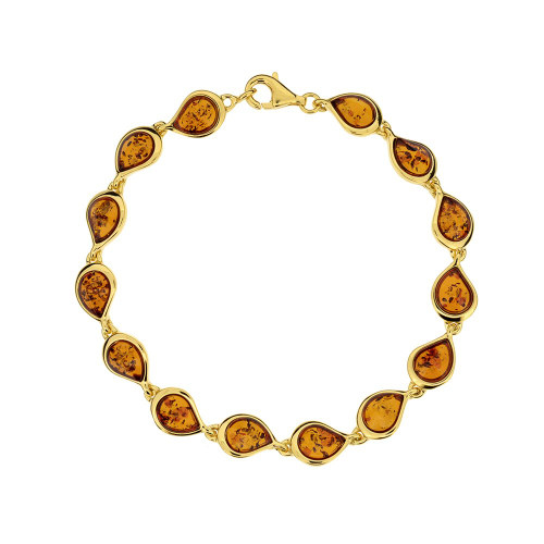 Bracelet in Yellow Goldplated Sterling Silver with Cognac Color Baltic Amber W1704YGc