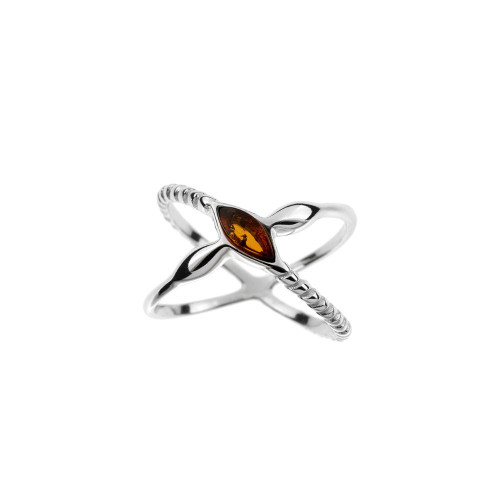 Ring in Sterling Silver with Cognac Color Baltic Amber R3466c
