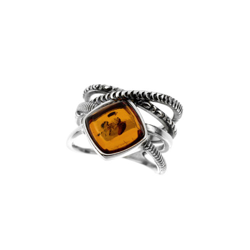 Ring in Sterling Silver with Cognac Color Baltic Amber R3470c