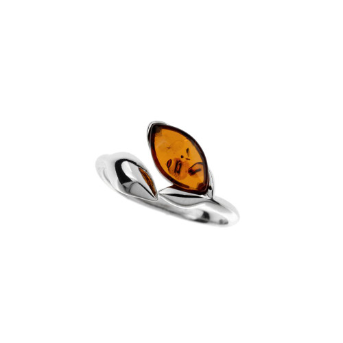 Ring in Sterling Silver with Cognac Color Baltic Amber R3627c