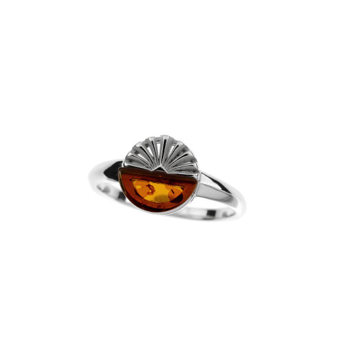 Ring in Sterling Silver with Cognac Color Baltic Amber R3722c