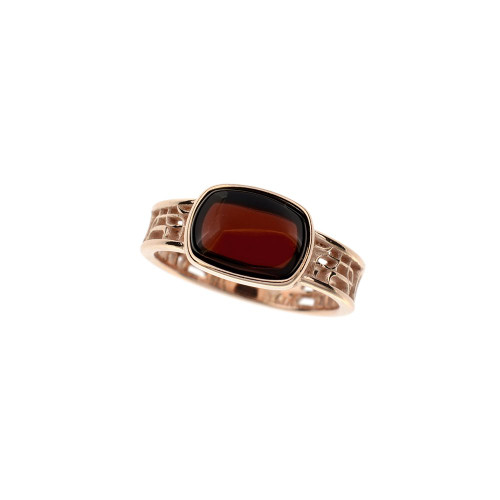 Ring in Sterling Silver Rose Gold Plated with Cherry Color Baltic Amber R3268RGch