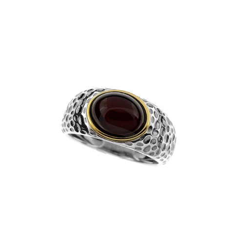 Ring in mix Sterling Silver & Rose Gold Plated Silver with Cherry Color Baltic Amber R3157RGch