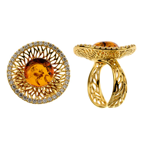 Ring in Sterling Silver Yellow Gold Plated with Cognac Color Baltic Amber & Cubic Zirconia