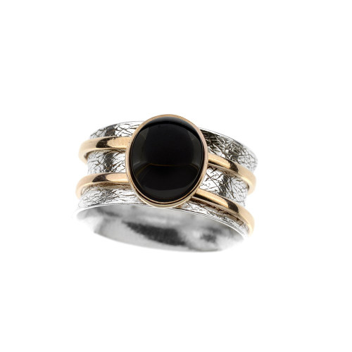 Ring in mix Sterling Silver & Rose Gold Plated Silver with Cherry Color Baltic Amber R3443RGch