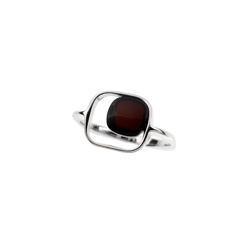 Ring in Sterling Silver with Cherry Color Baltic Amber R3419ch