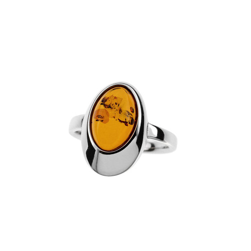 Ring in Sterling Silver with Cognac Color Baltic Amber D0107Rc