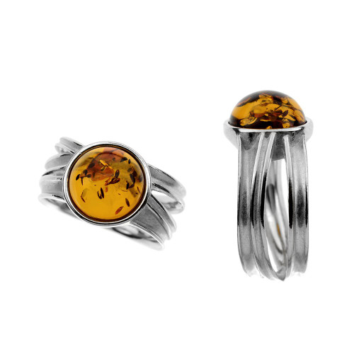 Ring in Sterling Silver with Cognac Color Baltic Amber R3153c