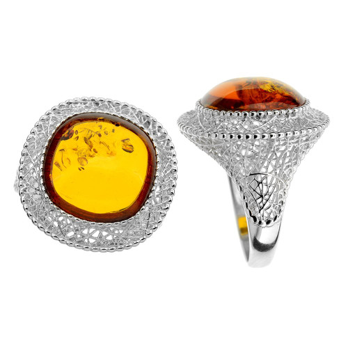 Ring in Sterling Silver with Cognac Color Baltic Amber R3055c