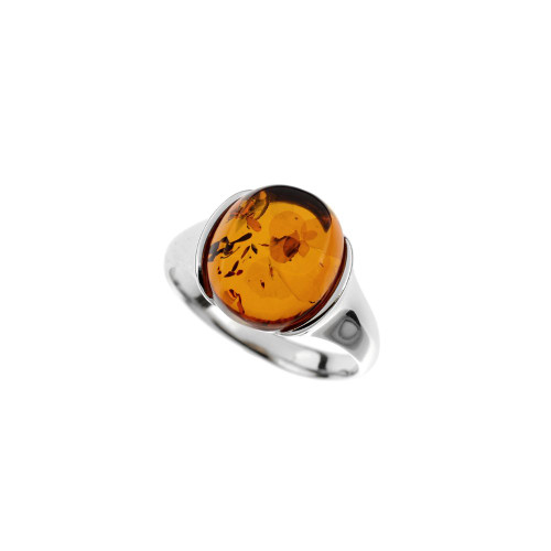 Ring in Sterling Silver with Cognac Color Baltic Amber R3296c