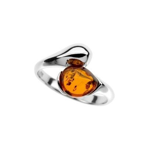 Ring in Sterling Silver with Cognac Color Baltic Amber R3311c