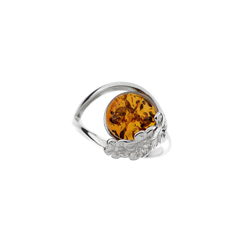 Ring in Sterling Silver with Cognac Color Baltic Amber R3414c