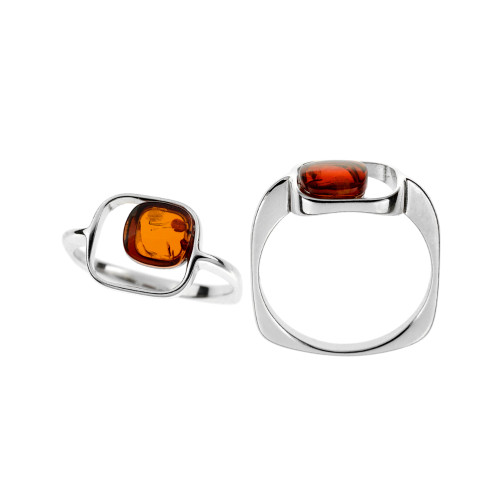 Ring in Sterling Silver with Cognac Color Baltic Amber R3419c