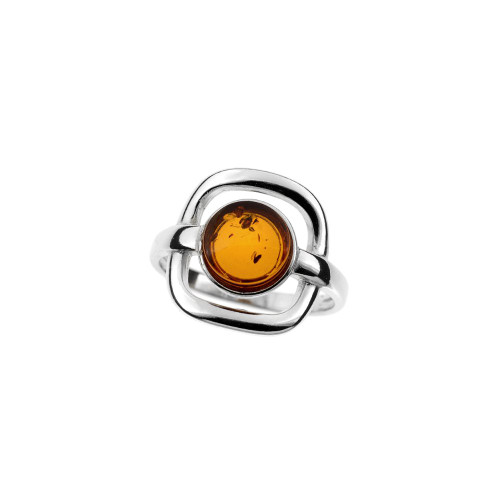 Ring in Sterling Silver with Cognac Color Baltic Amber R3480c