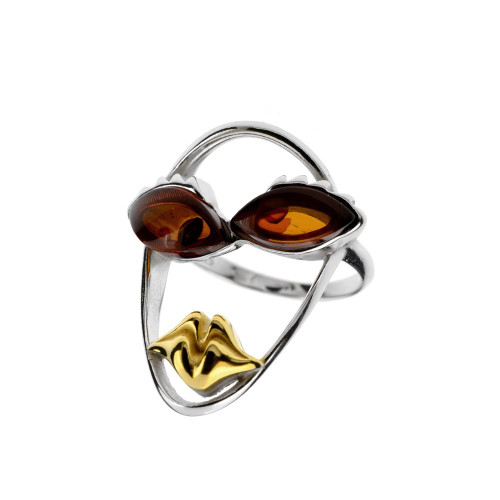 Picasso Style Collection Ring in mix Sterling Silver & Yellow Gold Plated Silver with Cognac Color Baltic Amber
