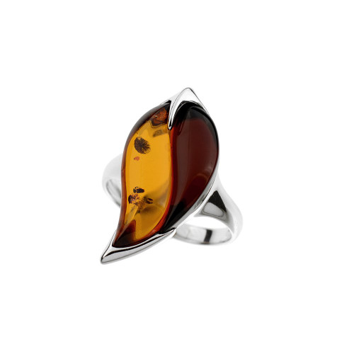 Ring in Sterling Silver with Multi Color Baltic Amber R2303mt