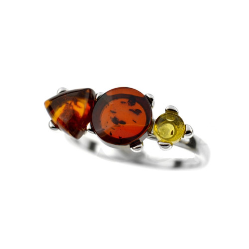 Ring in Sterling Silver with Multi Color Baltic Amber R2816mt