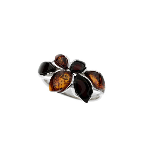 Ring in Sterling Silver with Multi Color Baltic Amber R3415mt