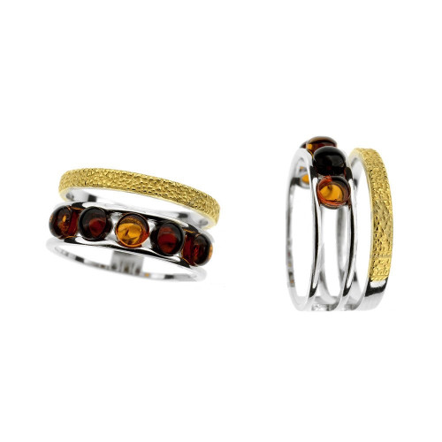 Ring in mix Sterling Silver & Yellow Gold Plated Silver with Multi Color Baltic Amber R3158YGmt
