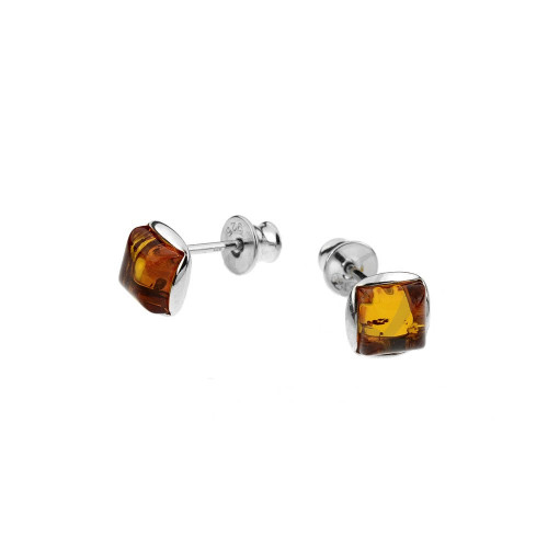 Small square post Earrings with Cognac Color Baltic Amber in Sterling Silver