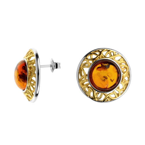 Round Earrings push back with Cognac Color Baltic Amber in Yellow Gold Plated Sterling Silver
